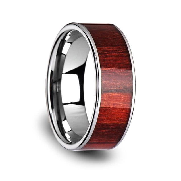 Exotic Brazilian Rose Wood Inlaid Pipe Cut Tungsten Carbide Ring For Men - 8Mm - Tungsten