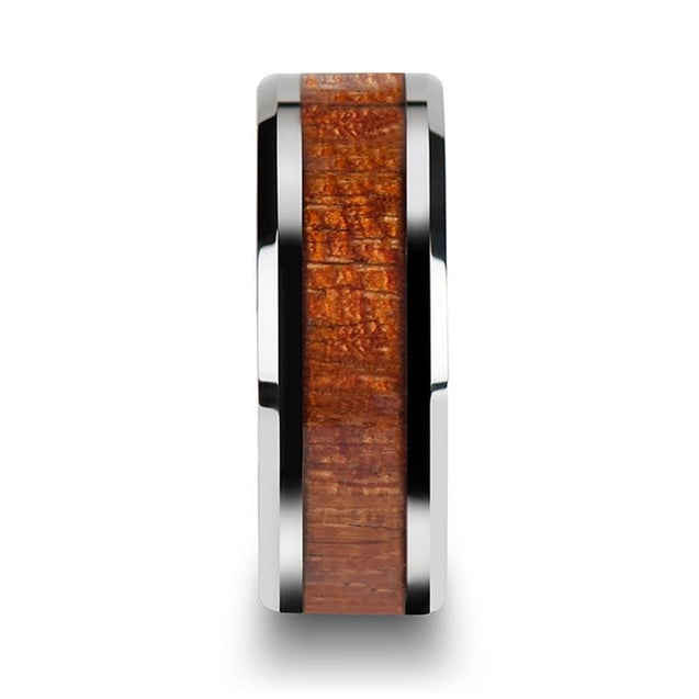 Exotic Hard Wood Inlaid Tungsten Ring With Polished Beveled Edges 4Mm - 10Mm - Tungsten