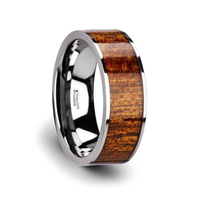 Exotic Mahogany Hard Wood Inlaid Flat Tungsten Carbide Band Polished Edges - 8mm