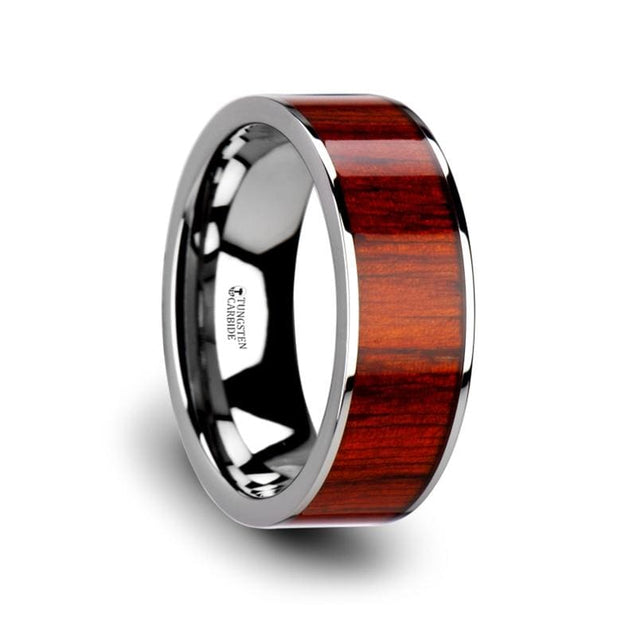 Exotic Padauk Wood Inlaid Flat Men's Tungsten Carbide Ring Polished Edges - 8 mm