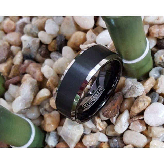 Exquisite Black Tungsten Ring With Silver Beveled Edges and Brushed Finish  - 8mm