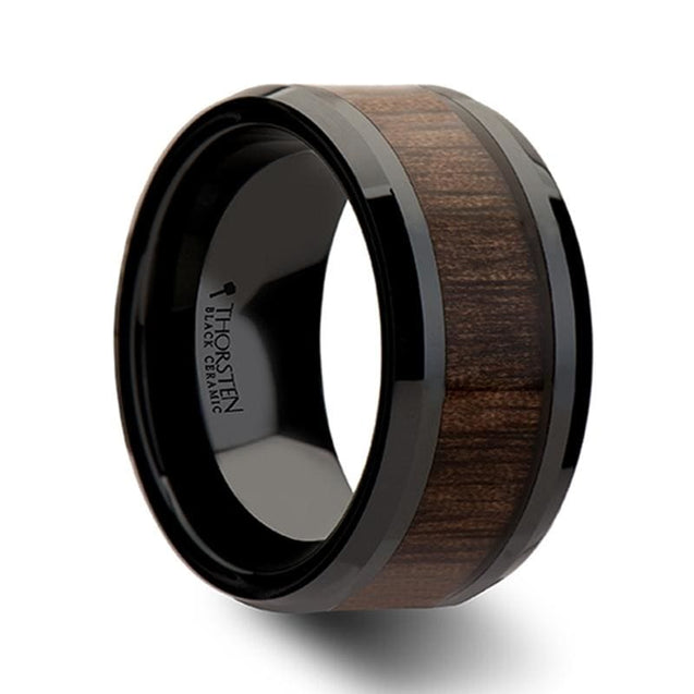 Extra Wide Men's Black Beveled Ceramic Ring with Black Walnut Wood Inlay - 12mm