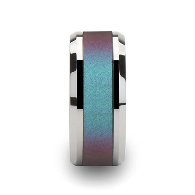 Extra Wide Tungsten Carbide Men's Ring with Blue & Purple Color Changing Inlay 10mm