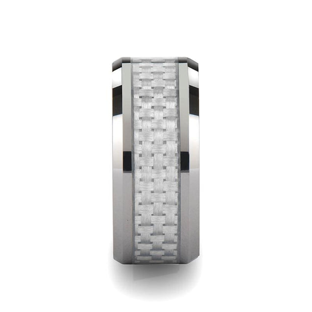 Extra Wide Tungsten Carbide Ring with White Carbon Fiber Inlay Beveled Edges - 10mm