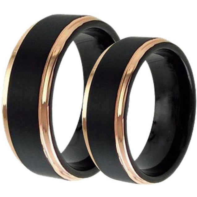 Filia Black Tungsten Wedding Band Set With Rose Gold Plated Stepped Edges - 6mm & 8mm
