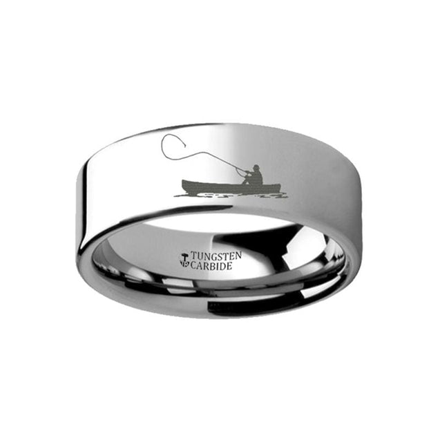 Fishing Boat Fishermen Ring Engraved Landscape Scene Flat Tungsten Ring - 4mm - 12mm