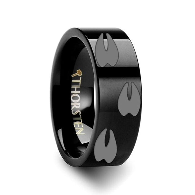 Flat Black Tungsten Carbide Ring Animal Track Deer Print Engraved Polished 4Mm - 12Mm - Tungsten