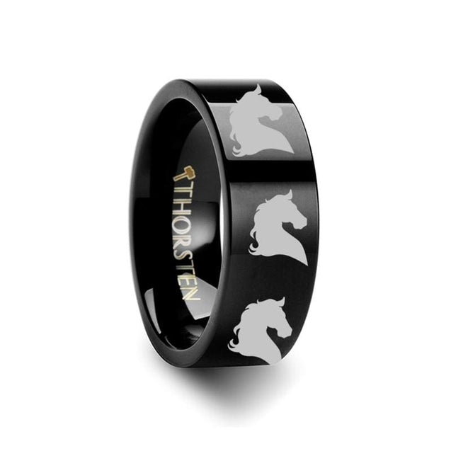 Flat Black Tungsten Carbide Ring with Animal Horse Head Print Engraved  4mm - 12mm