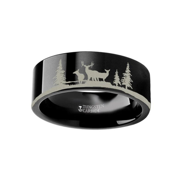 Flat Black Tungsten Ring Animal Landscape Scene Reindeer Stag Engraved - 4mm - 12mm