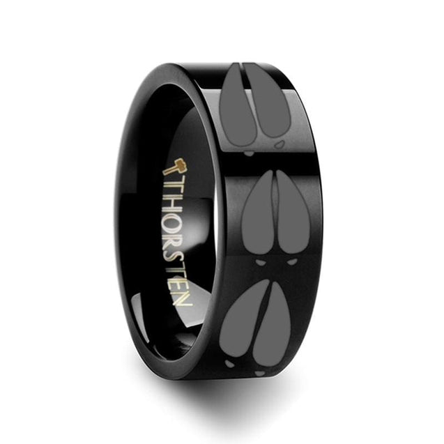 Flat Black Tungsten Ring With Animal Deer Track Mule Print Ring Engraved - 4Mm - 12Mm - Tungsten
