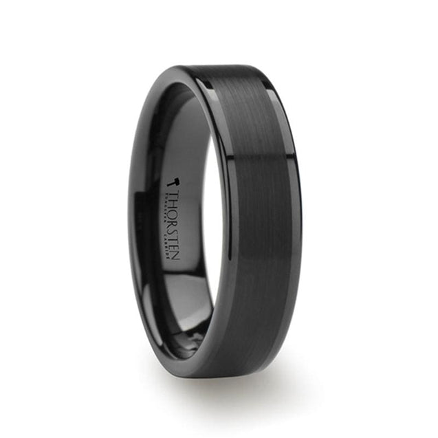 Flat Black Tungsten Wedding Band with Brushed Center & Polished Edges - 4 mm -12 mm