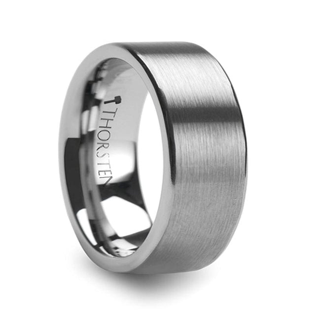 Flat Brush Finish Tungsten Mens Wedding Ring Extra Wide - 10Mm - Tungsten