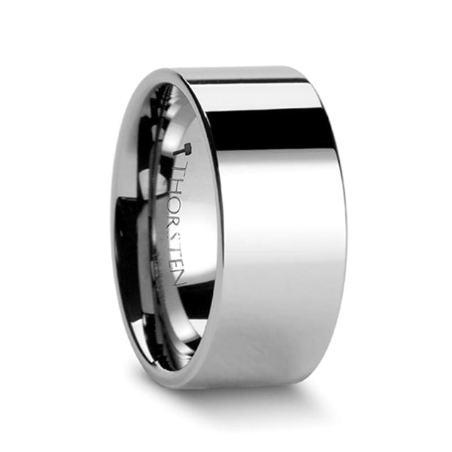 Flat Pipe Cut Tungsten Carbide Wedding Band High Polish Finish - 2mm - 12mm