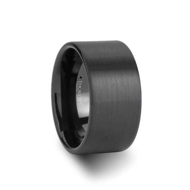 Flat Style Extra Wide Black Tungsten Carbide Men's Ring with Brushed Finish - 12 mm