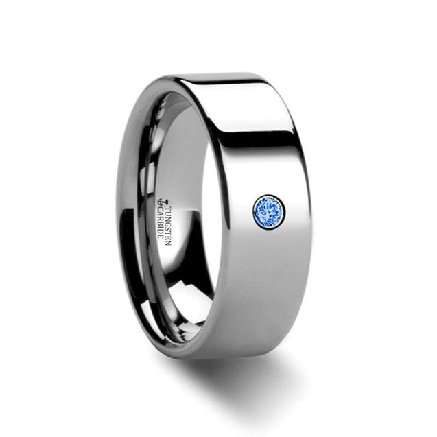 Flat Style Polished Finish Tungsten Ring with Blue Diamond Setting - 6mm & 8mm