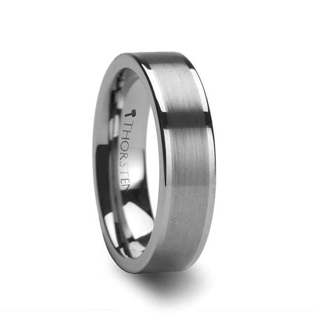 Flat Style Women Tungsten Carbide Ring with Brushed Finish - 4mm - 6mm