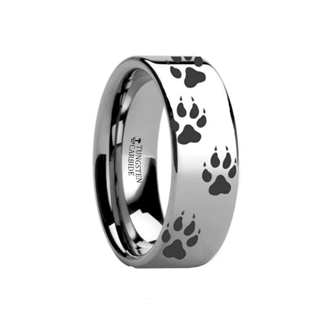 Flat Tungsten Carbide Ring Polished with Animal Track Wolf Print Engraved  - 4mm - 12mm