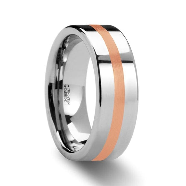 Flat Tungsten Carbide Ring with Rose Gold Inlay Polished Finish - 6 mm & 8 mm