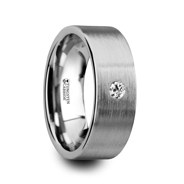 Flat Tungsten Carbide Wedding Ring with White Diamond Setting - 6mm & 8mm