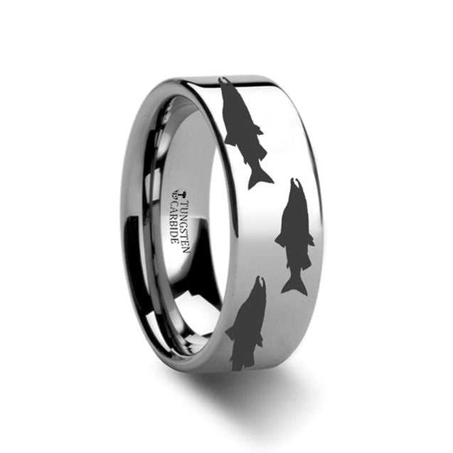 Flat Tungsten Wedding Ring with Salmon Fish Sea Print Pattern Engraved  4mm - 12mm