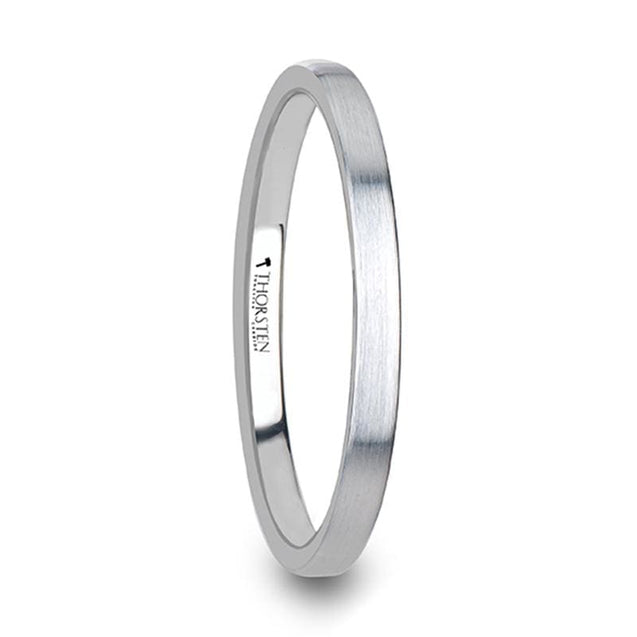 Flat White Tungsten Carbide Wedding Ring with Brush Finished 2mm - 8mm