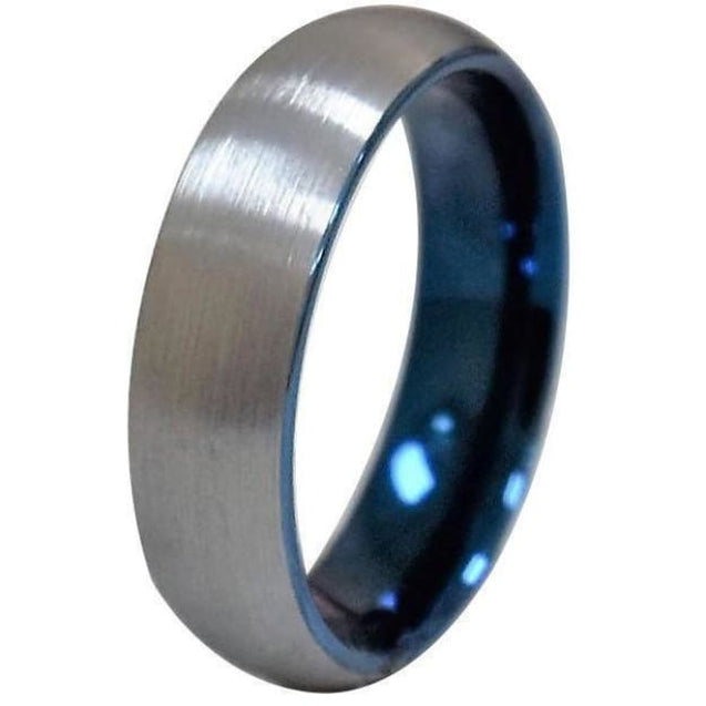 GAEA Tungsten Ring With Curved Brushed Finish & Shiny Blue On The Inside - 6mm