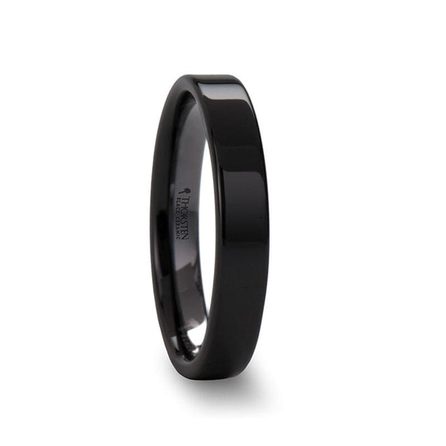 GAINELL Ladies Black Ceramic Wedding Ring Flat Polished Finished - 4mm - 12mm