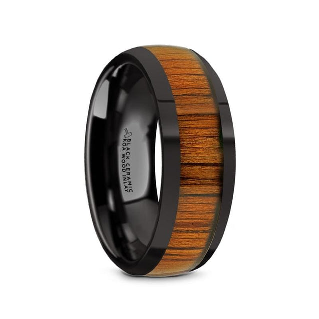 GAVIN Black Ceramic Domed Polished Finish Wedding Band with Koa Wood Inlay - 8mm