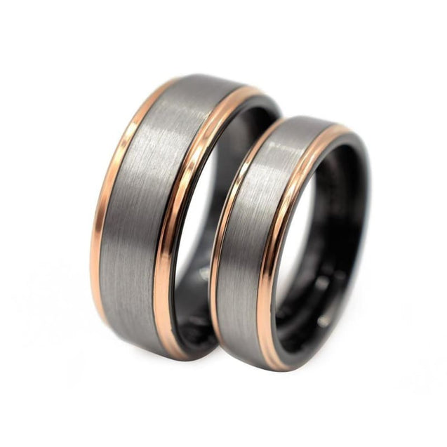 Georgios Tungsten Ring Set With Rose Gold Inlaid and Brushed Center - 6mm & 8mm