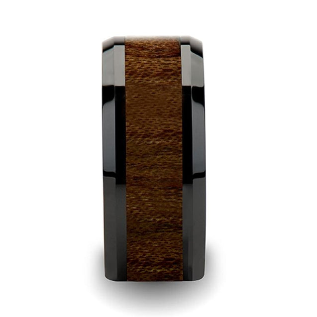 GIDEON Extra Wide Black Beveled Ceramic Ring with Black Walnut Wood Inlay - 10mm
