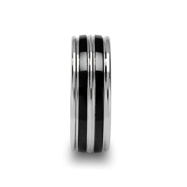 Grooved Tungsten Mens Wedding Band With Dual Offset Black Ceramic Inlays - 8Mm - Tungsten
