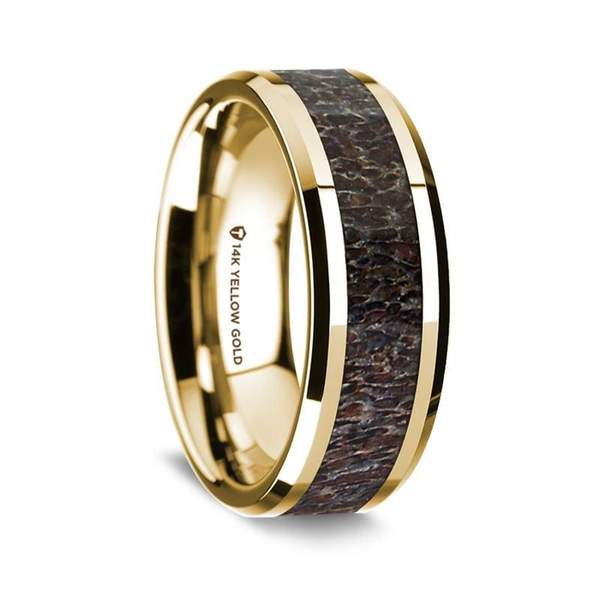 14K Yellow Gold Dark Deer Antler Inlay Men's Wedding Band w/ Beveled Edges - 8 mm