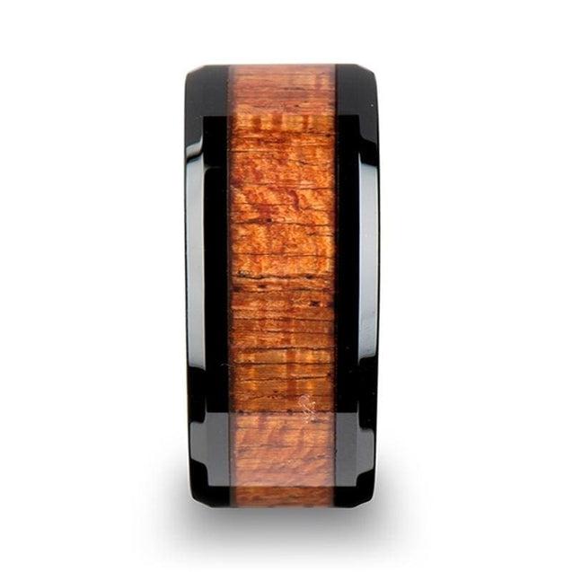 HAMLET Exotic Mahogany Wood Inlaid Black Ceramic Men's Wedding Band - 10mm