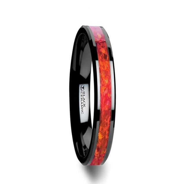 HANNAH Black Ceramic Wedding Band with Red Opal Inlay & Beveled Edges - 4mm