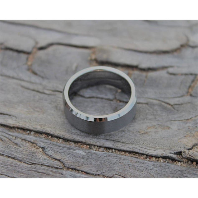 High Polished Tungsten Wedding Band With Beveled Edges & Brushed Center - 6mm & 8mm