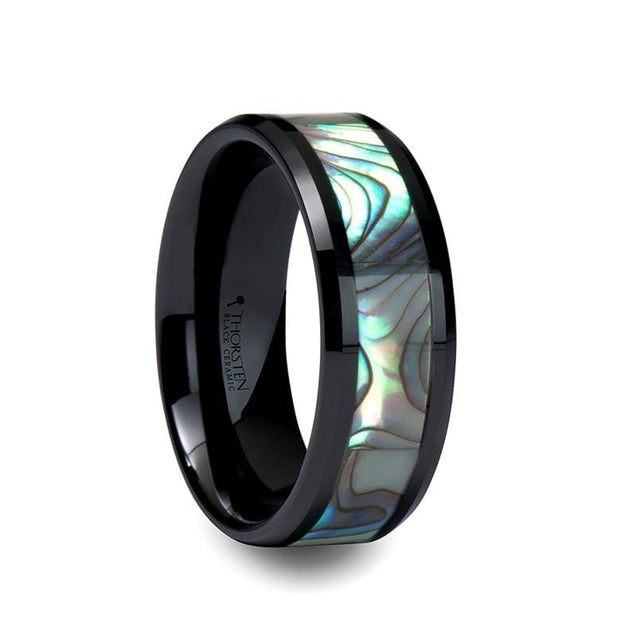 Holden Black Ceramic Wedding Ring Beveled Edges With Shell Inlay - 8Mm - Ceramic Rings