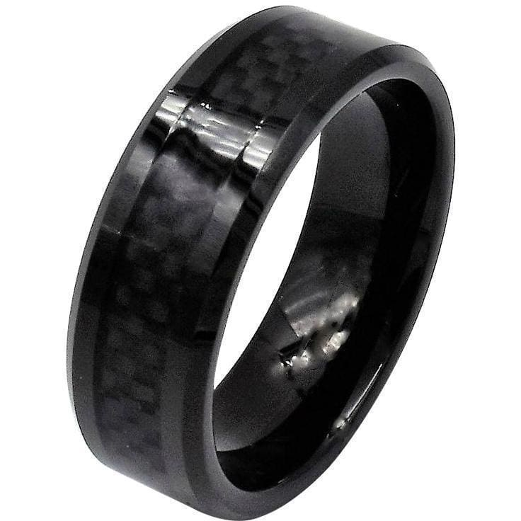 6mm Red Line Ring Black Faceted Ceramic Fiber Inlay Wedding Band