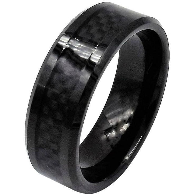 Ianthe Black Tungsten Wedding Band With Stunning Black Carbon Fiber Inlay - 8mm