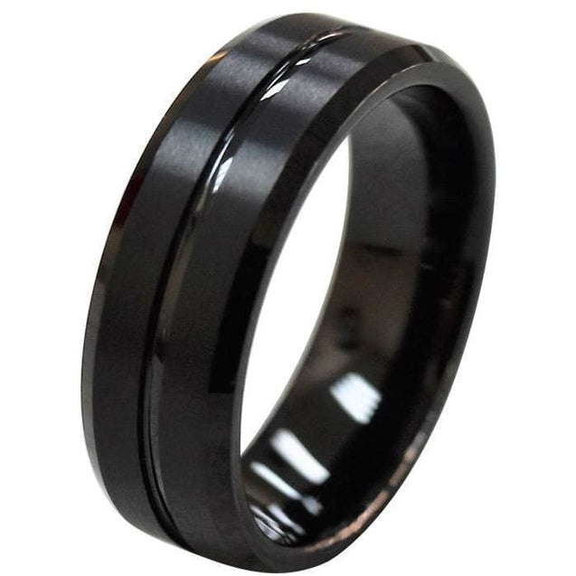 JACE Black Tungsten Wedding Band Recessed Center Groove And Brushed Finish - 8mm