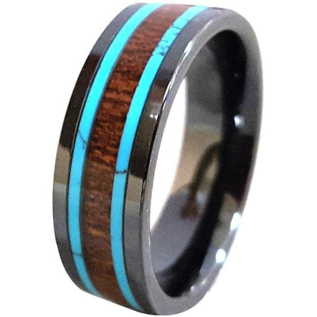 Jannes Black Ceramic Ring With Hawaiian Koa Wood & Turquoise inlays - 8mm