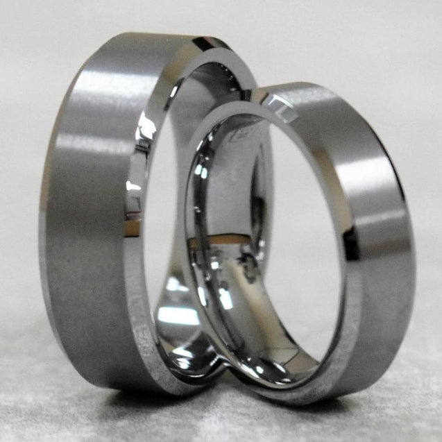 Joacheim Classic Tungsten Wedding Band Set With Polish Beveled Edges - 6mm & 8mm