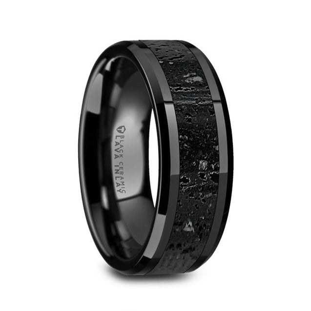 JORDAN Black Ceramic Men's Wedding Ring with Black & Gray Lava Rock Stone Inlay 8mm