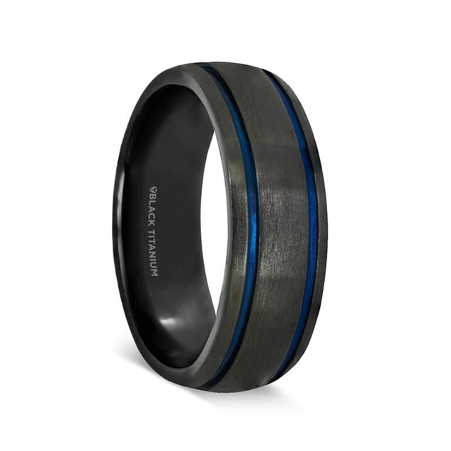 KADEN Black Domed Titanium Men's Wedding Band with Blue Grooves - 8mm