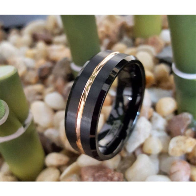 Kali Black Tungsten Ring W/ Ion Plated Rose Gold & Polished Beveled Edges 6mm & 8mm