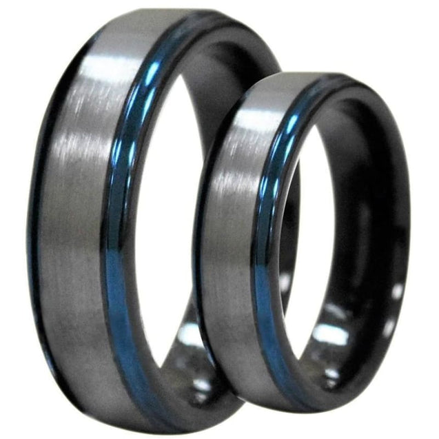 Kalika Tungsten Wedding Band Set With Ion Plated Blue Stepped Edges - 6mm & 8mm
