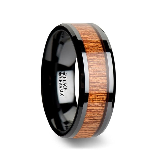 KANIEL African Sapele Wood Inlaid Black Ceramic Wedding Band 6 mm -10 mm