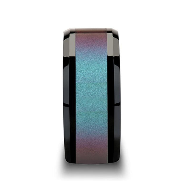 KEAGAN Beveled Blue-Purple Color Changing Inlay Black Ceramic Ring - 6mm - 10mm