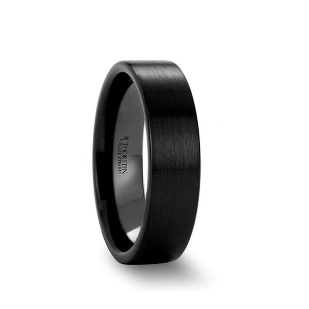 KINSLEY Black Pipe Cut Brush Finished Ceramic Wedding Band For Both 4mm - 12mm