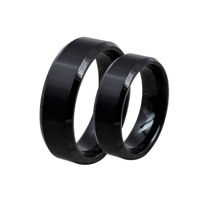 KORI Black Tungsten Ring Set With Brushed Center & Beveled Edges - 6mm & 8mm