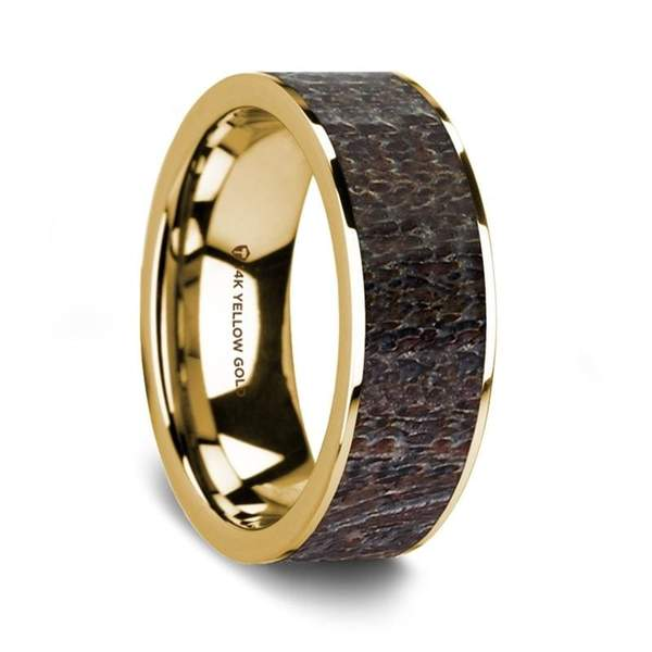 14K Yellow Gold Men's Wedding Ring  with Flat Polished Dark Deer Antler Inlay - 8 mm